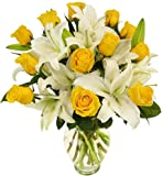 Benchmark Bouquets Yellow Roses and White Oriental Lilies, With Vase
