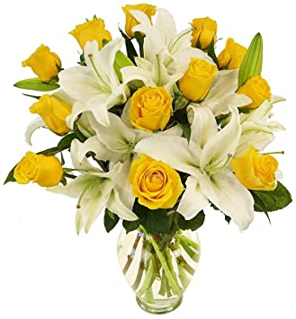 Amazon benchmark bouquets yellow roses and white oriental benchmark bouquets yellow roses and white oriental lilies with vase mightylinksfo