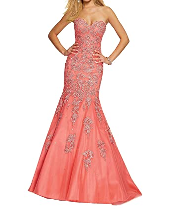 Fanciest Womens Appliques Mermaid Prom Dresses Lace Up Back Evening Gowns Orange US2