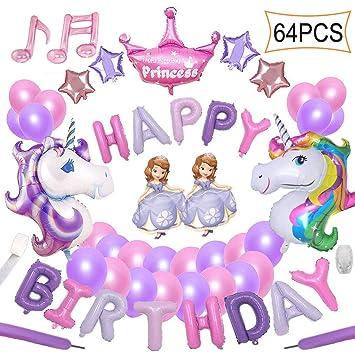 64 Pcs Décorations Anniversaire Yidaxing 2pcs énorme Licorne Balloon Joyeux Anniversaire Ballon Bannière Et 48pcs Ballons Party Latex Filles