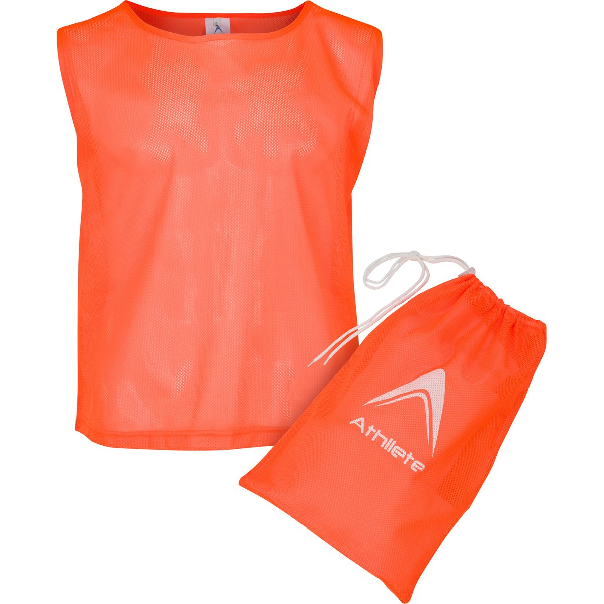Athllete Set of 12 - Child Scrimmage Vests/Pinnies/Team Practice Jerseys with Free Carry Bag (Flame Orange, Small)