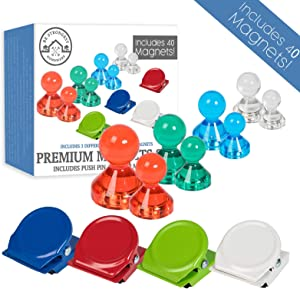 Metal Fridge Magnets Combo Kit: 40 Pack, 4 Cool Colors, 3 Sizes Push Pin Fridge Magnets + Strong Fridge Magnet Clips – Strong Refrigerator Magnet Clips and Push Pin for Home, Office, Whiteboard