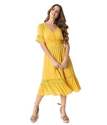 Vintage Style Mustard Yellow Woven Lace Short Sleeve Midi