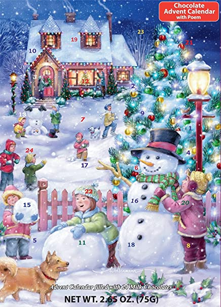 Amazon.com: Snowman Celebration Chocolate Advent Calendar (Countdown ...