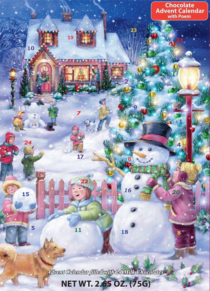 Snowman Celebration Chocolate Advent Calendar (Countdown to Christmas),2.65 OZ