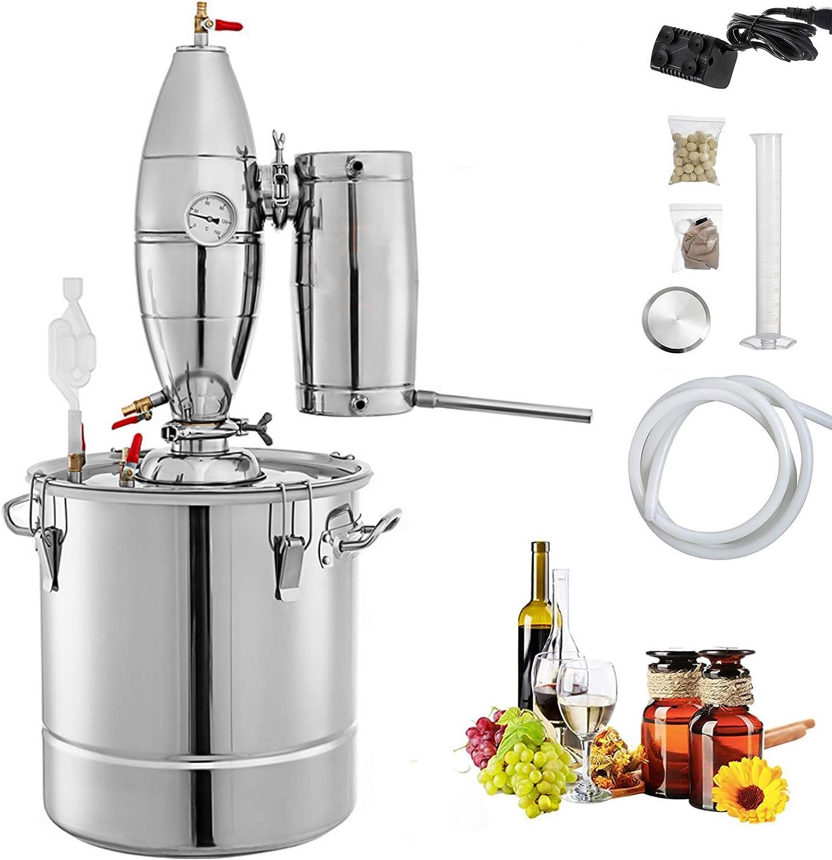 BSJZ Destilador de Alcohol, Kit de destilador Kits de destilador de Tubo de Cobre de Acero Inoxidable Destilador de Agua Caldera de Agua Kit de elaboración casera