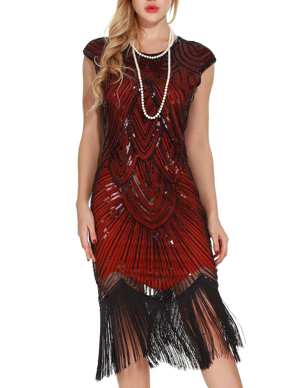 Uniq Sense Women's 1920s Flapper Dresses - Sequined Beaded Fringed Emblished Great Gatsby Dresses