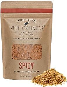 Appel Foods - Nut Crumbs - Bread Crumb Alternative - Gluten Free - Sugar Free - Low Carb - Low Sodium - Raw, Premium Nuts - Spicy