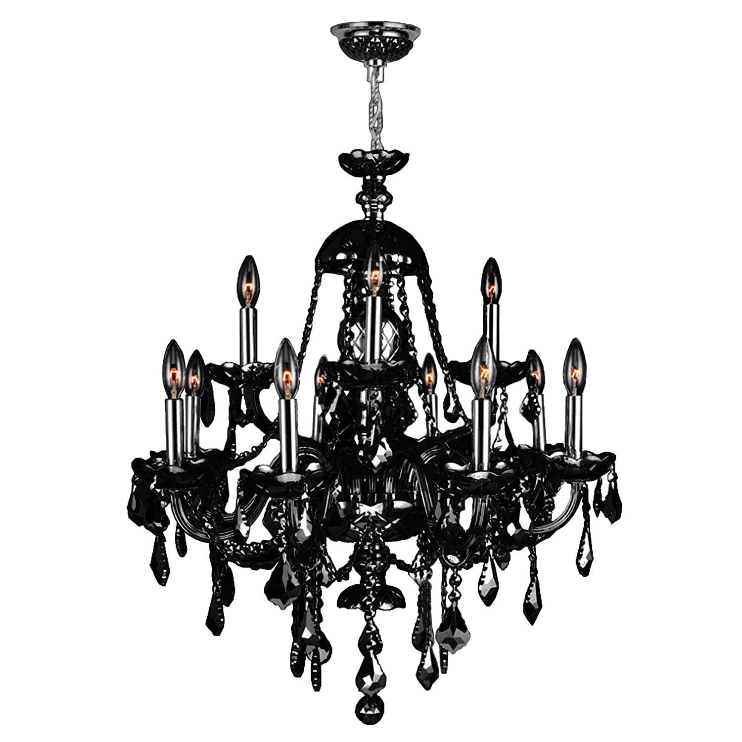 Worldwide Lighting Provence Collection 12 Light Chrome Finish and Black Crystal Chandelier 28 D x 31 H Two 2 Tier Large