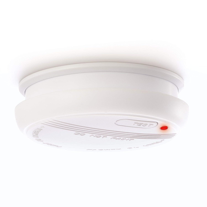DETECTOR DE HUMO Sicuro | Alarma de incendio de 4smile | Detector de humo para prevenció n de incendios con 9V baterí a cambiable| Garantia de 5 aῆos ǀ Volumen de alarma 85 dB ǀ Blanco Art. 00235103