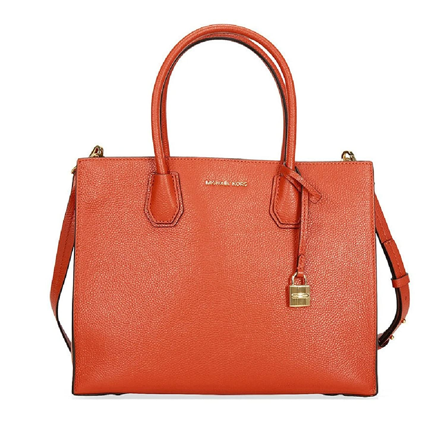 (マイケルコース)MICHAEL KORS Studio Leather Large Mercer Convertible Tote Orange Handbag マーサーラージトート オレンジ [並行輸入品] B06ZYLKMHK