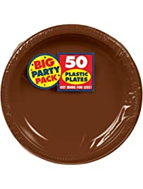"""Big Party Pack Chocolate Brown Plastic Plates 