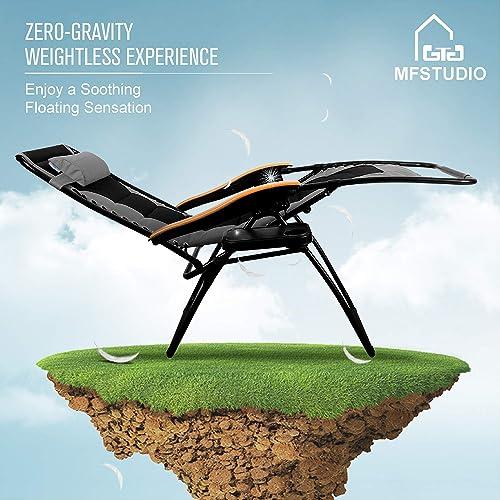 MFSTUDIO Oversized Zero Gravity Chair XL Patio Recliners Padded Folding Chair