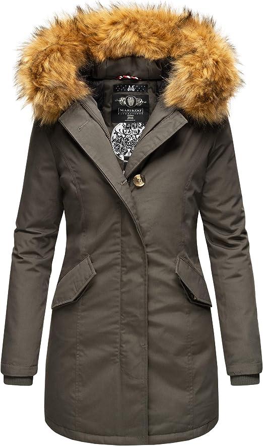 Marikoo Premium Damen Winter Jacke Stepp Parka Mantel Winterjacke warm gefüttert Kunstpelz KARMAA Princess XS XXL