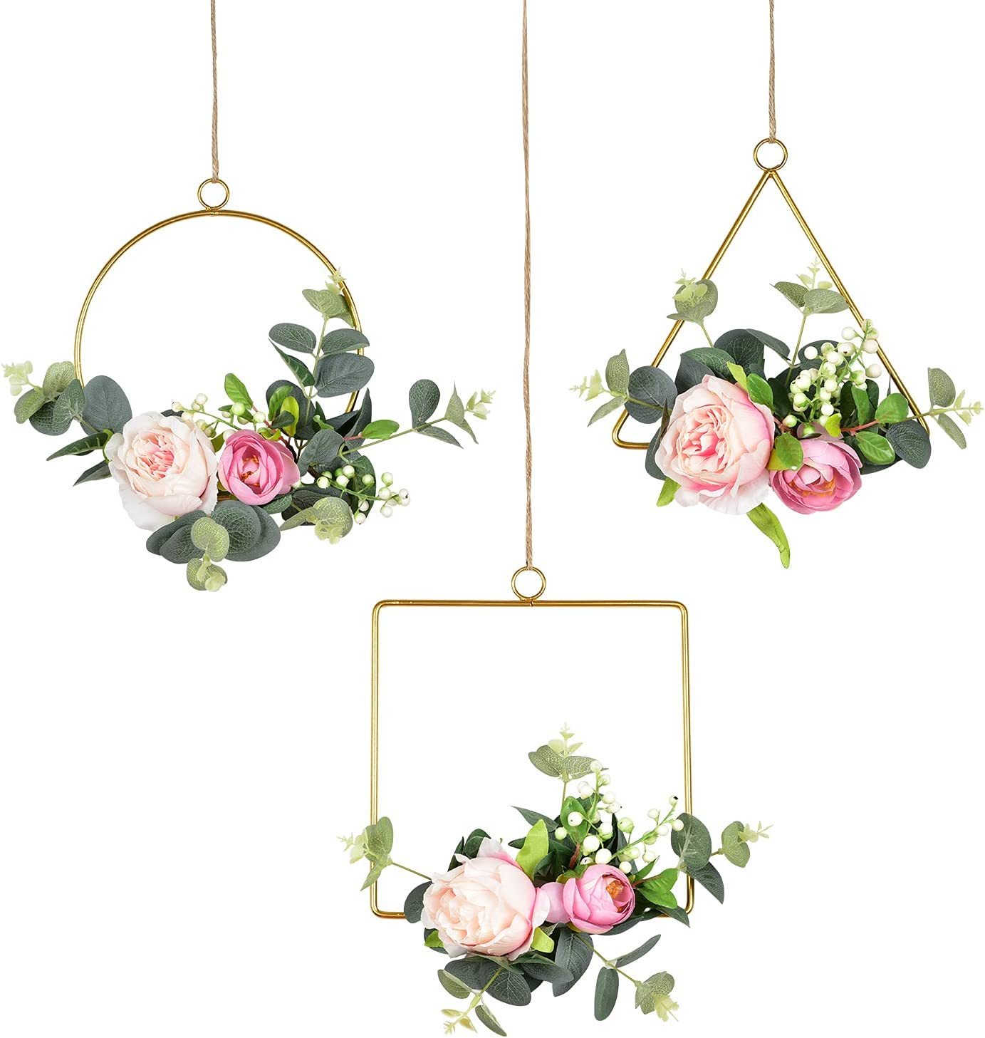 Lvydec Artificial Flower Hoop Wreath, Set of 3 Hanging Floral Wall Decor with Silk Roses and Eucalypts Leaves for Wedding Party Nursery Wall Home Decoration