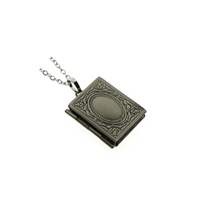 357999b94 Amazon.com: Vintage Style Antiqued Silver Small Rectangle Book Photo Locket  Pendant Charm Necklace 18+2'': Jewelry
