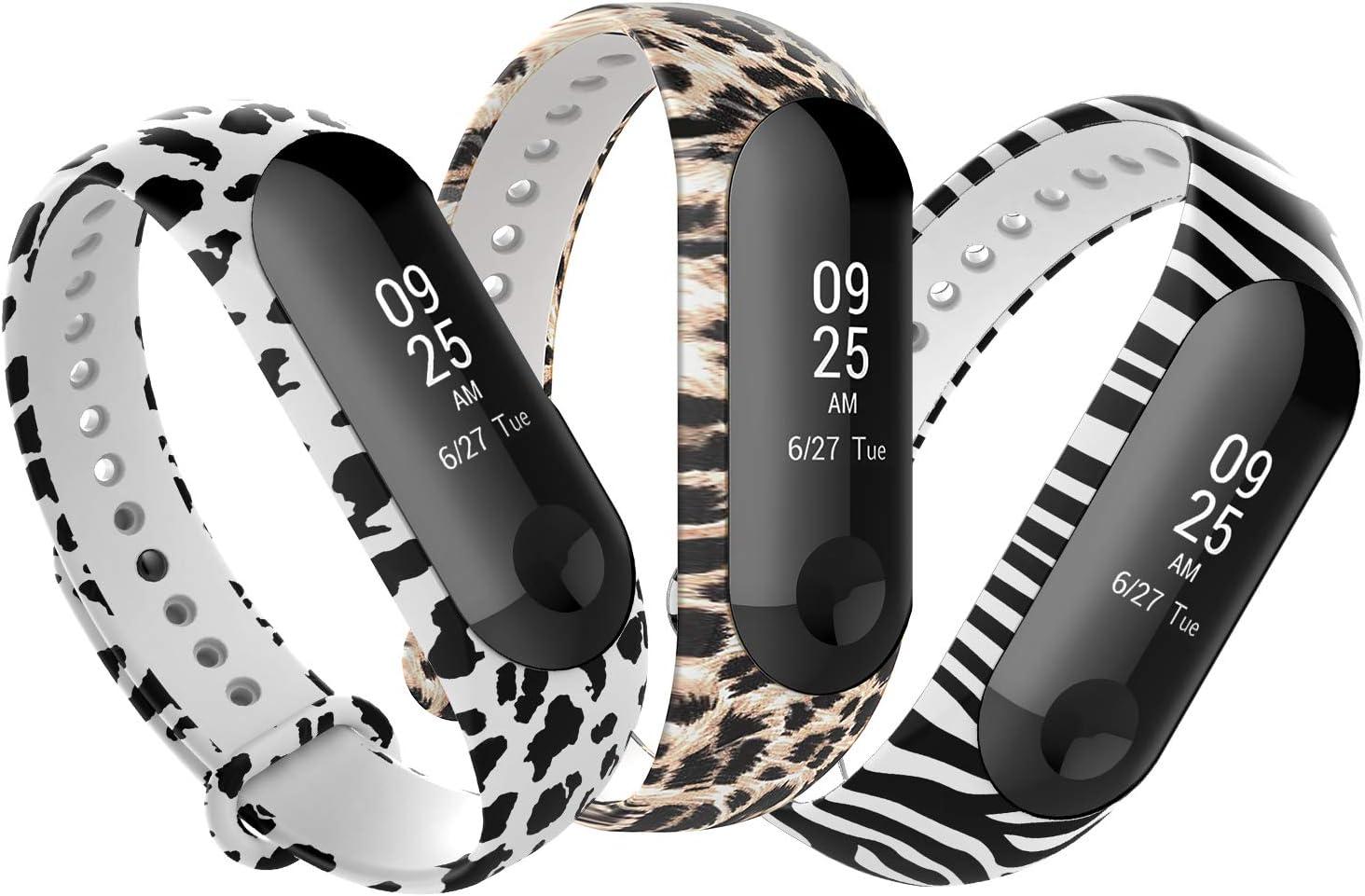 Anjoo Correa Compatible con Xiaomi Mi Band 3/Mi Band 4, Pulsera de reemplazo Deportivo Suave Ajustable de Silicona Correas[3 Paquetes][Patrón de Cebra, Leopardo, Vaca]