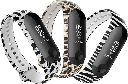 Anjoo 3 Piezas Correa Compatible con Xiaomi Mi Band 3/Mi Band 4, Pulsera de reemplazo Deportivo Suave Ajustable de Silicona Correas Compatible con Mi Smart Band 4, Patrón de Cebra + Leopardo +