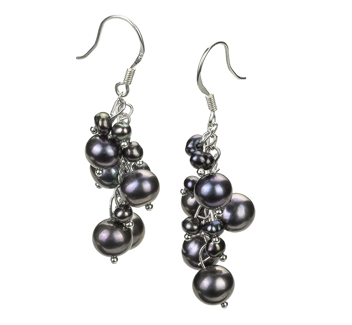 Black 3-7mm A Quality Freshwater Alloy Cultured Pearl Earring Pair