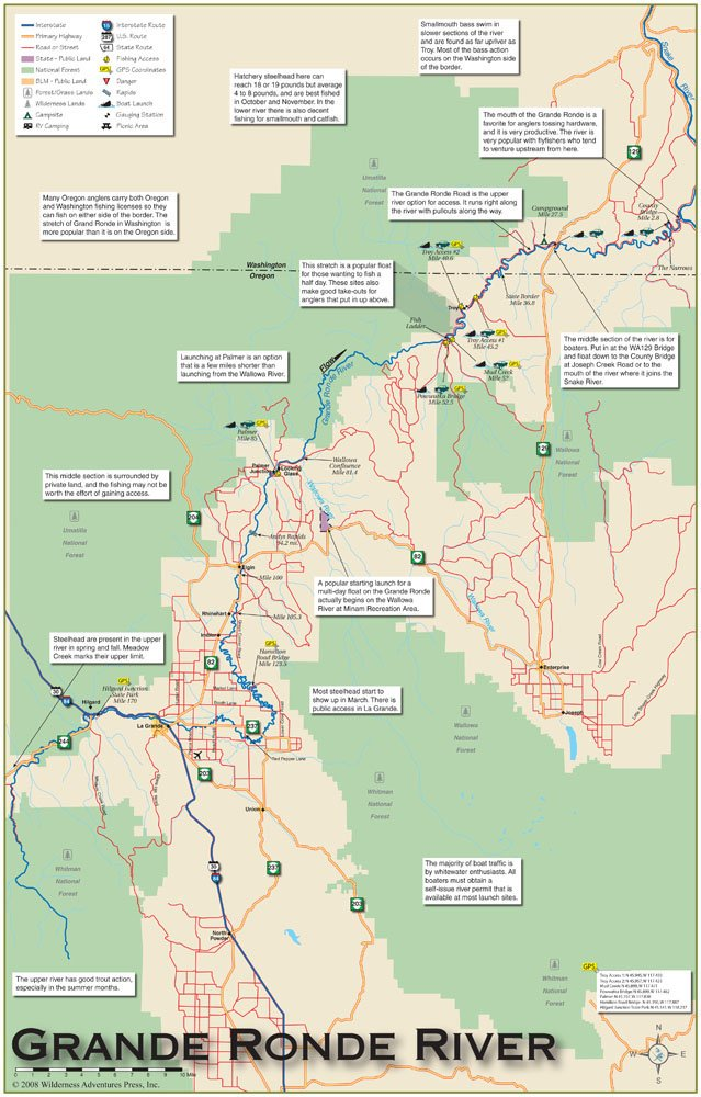 Grand Ronde Oregon Map.Amazon Com Grande Ronde River 11x17 Fly Fishing Map Fishing