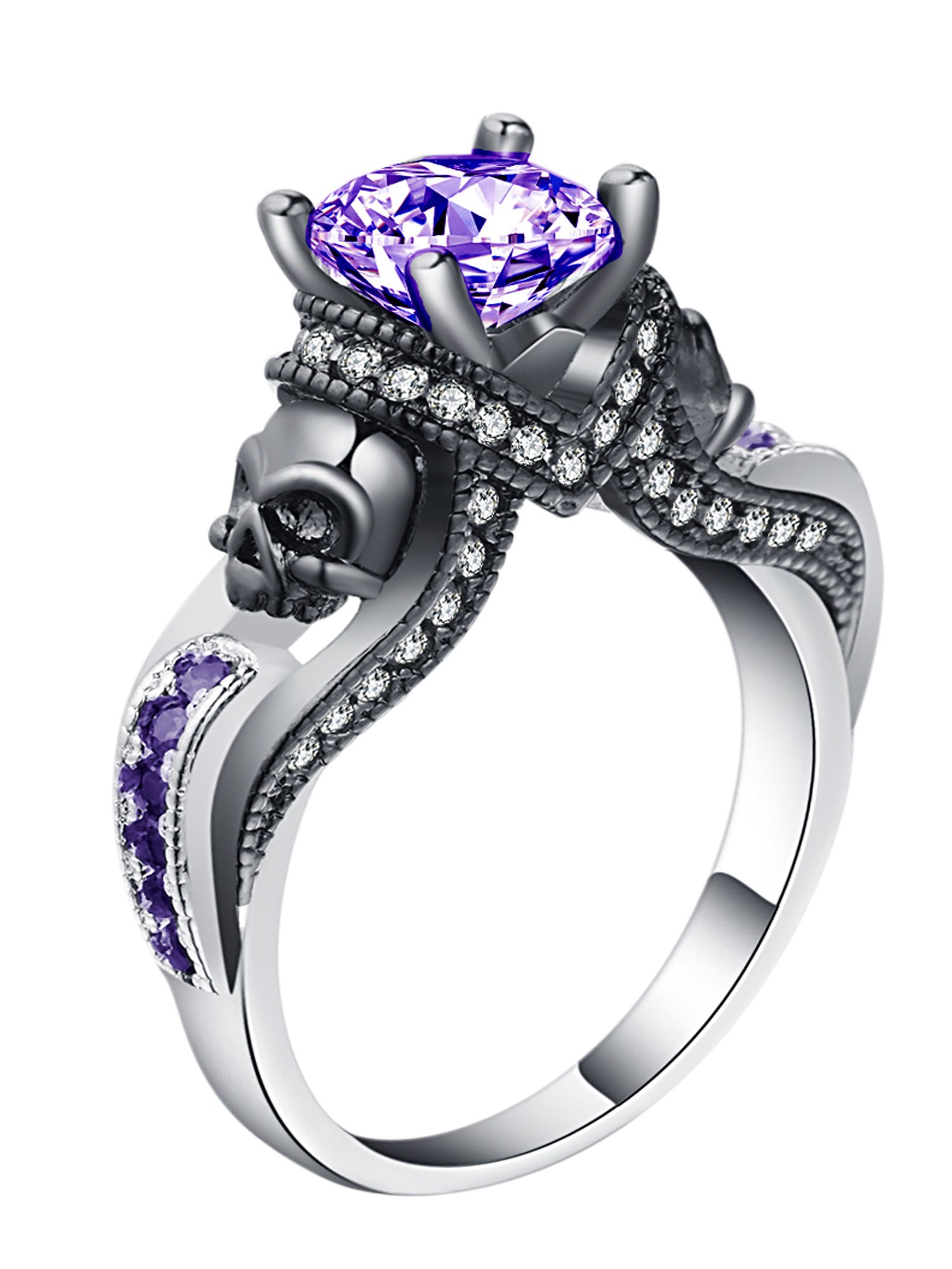 Ginger Lyne Collection Chasity Purple Skulls Goth Style Engagement Ring Size 11