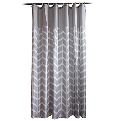 EZ Life Premium Shower Curtain - Lovely Leaf - Grey - Nylon