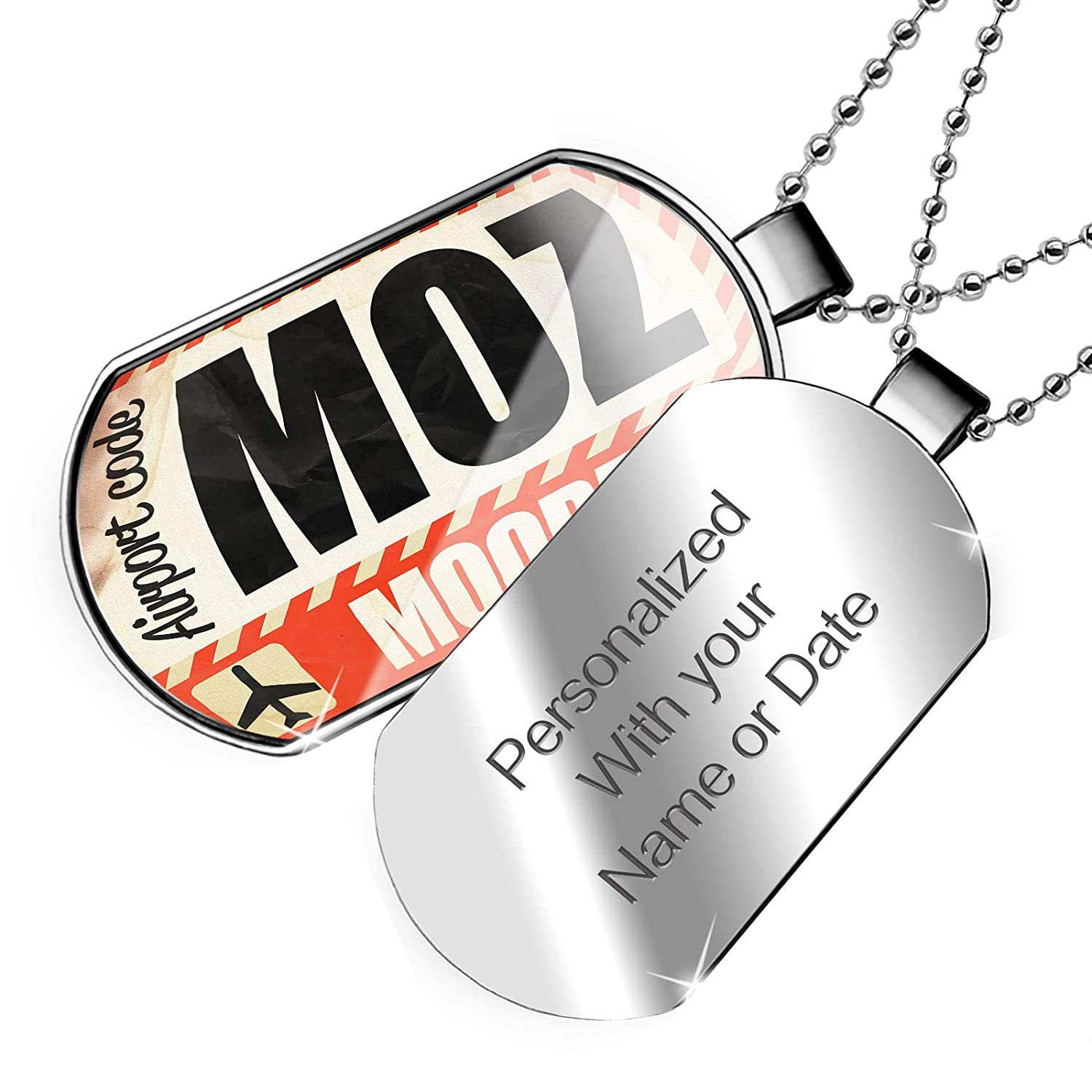 NEONBLOND Personalized Name Engraved Airportcode Moz Moorea Dogtag Necklace