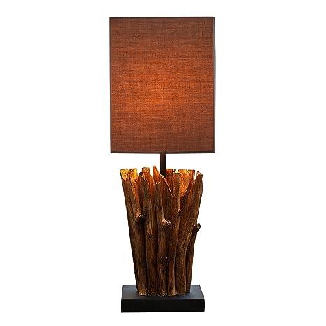 Lámpara de mesa de madera diseño Euphoria gris marrón mano ...