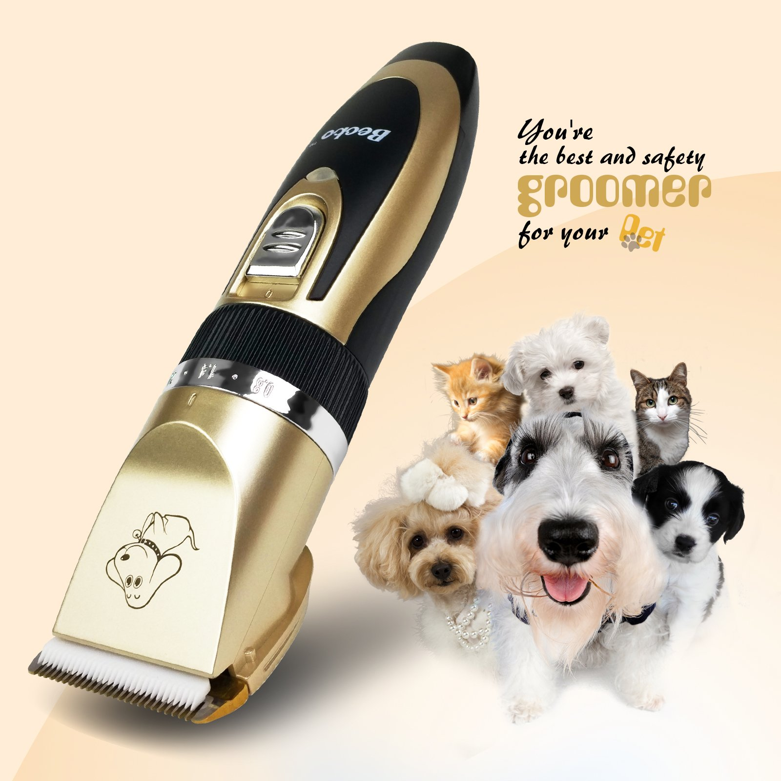 Becko Cordless Low Noise Pet Hair Clippers, for Dog Cat Animals Grooming Hair Trimming by Becko US