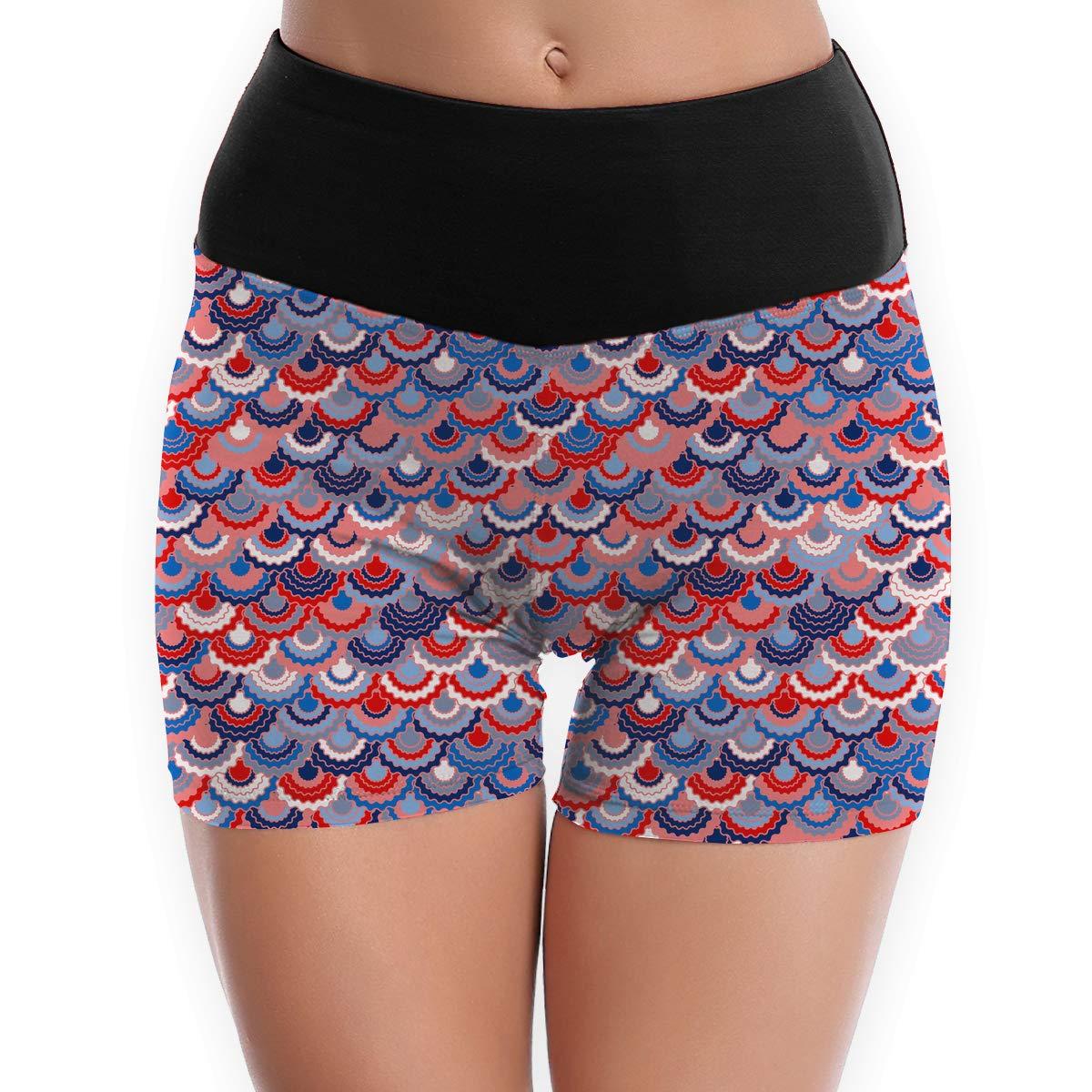 LDGT@DU Womens Yoga Shorts American Flag Ribbons Pattern Athletic Training Shorts