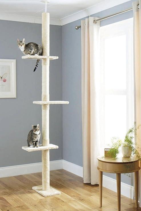 Árbol Rascador para Gatos, Rascador de suelo a techo para gatos, Poste escalador de Sisal Natural, Árbol para Gatos Extensible, Arbol Rascador de ...