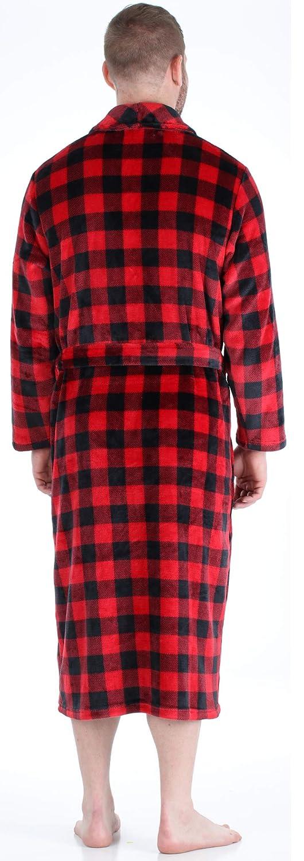 PajamaMania Mens Plush Long Sleeve Fleece Long Bathrobe