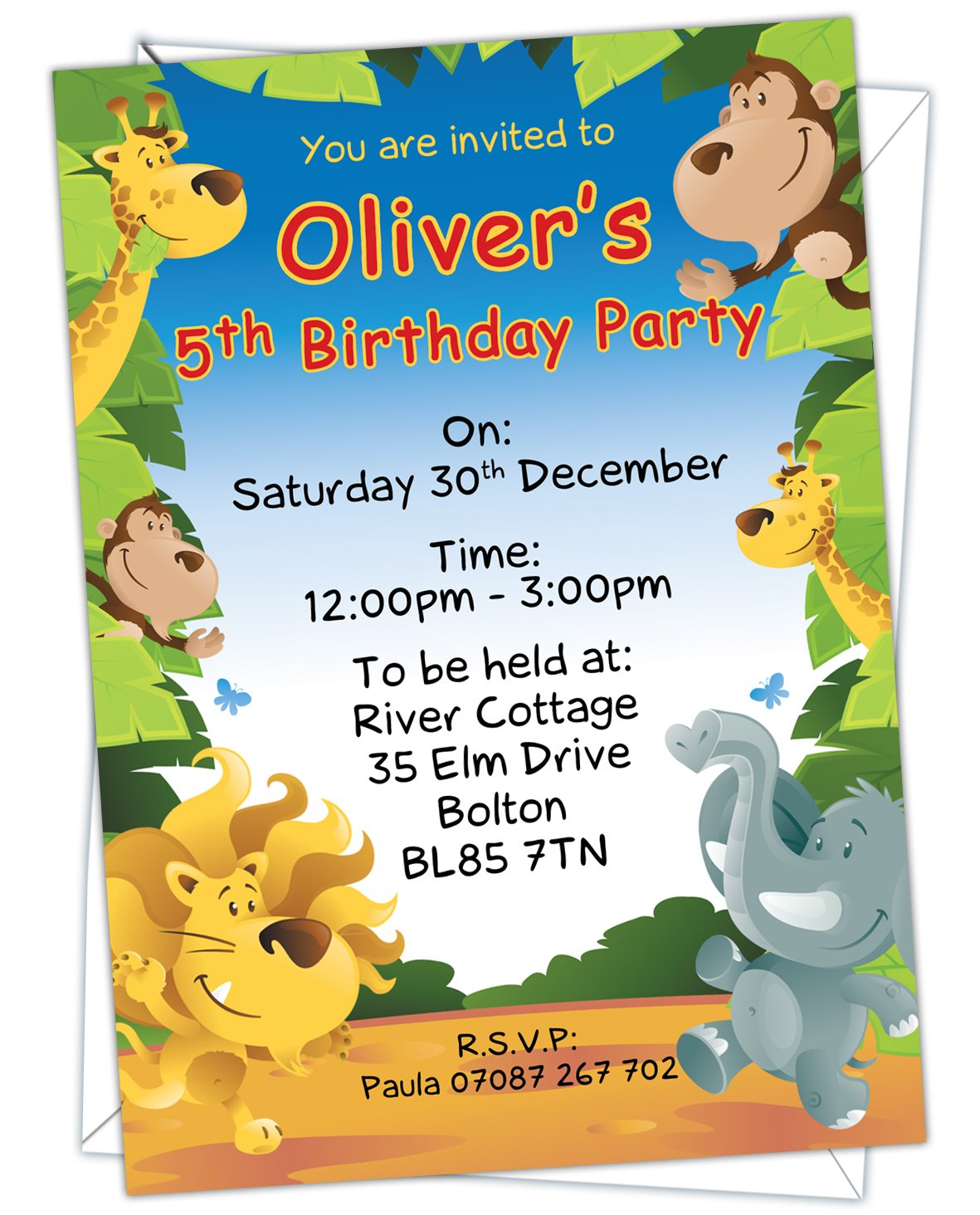 Personalised Kids Childrens Jungle Animal Themed Birthday Party Invitations Any Age Can Be Added