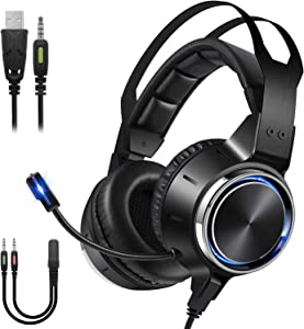 Gaming Headset for PS4, PS5, PC, Xbox One, Stereo Surround Sound Over Ear Headphones with Noise Cancelling Microphone, RGB Light, Memory Foam Earpads, Mic for PS4 Playstation 5 Laptops Switch Computer