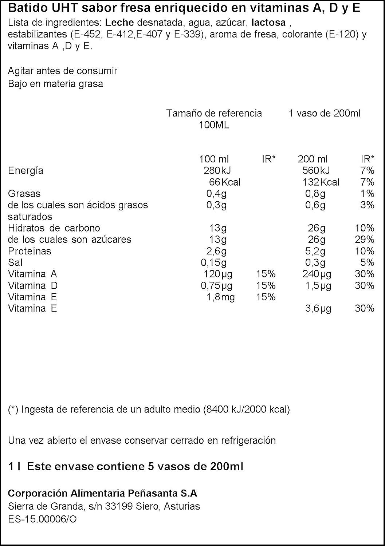 Central lechera asturiana batido sabor fresa con vitaminas a, d y e envase 1l (asturiana): Amazon.es: Alimentación y bebidas