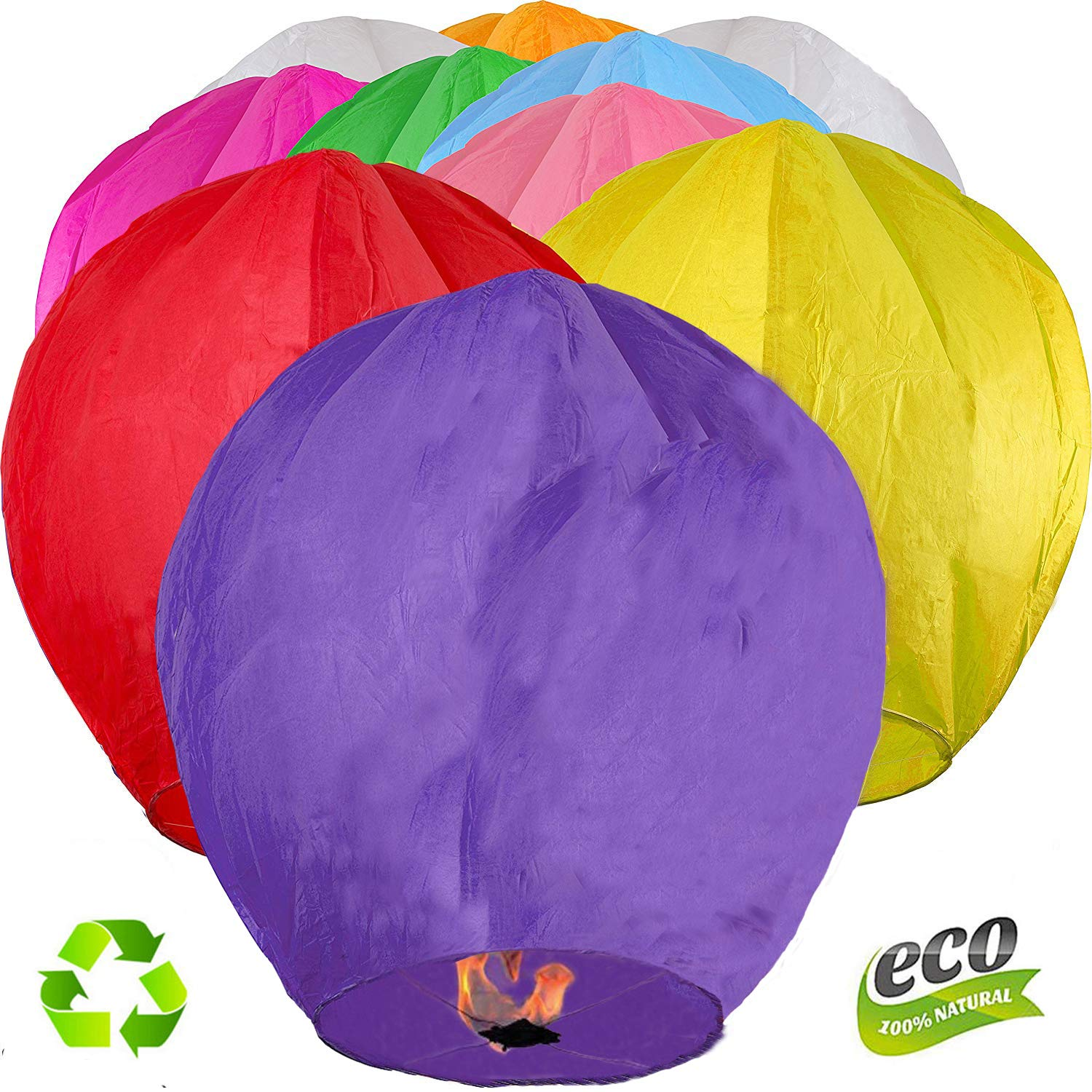 Chinese Sky Lanterns - Eco Friendly, 100% Biodegradable-for Any Birthdays, Parties, New Years,Memorial Ceremonies, and More(Mix) (30)