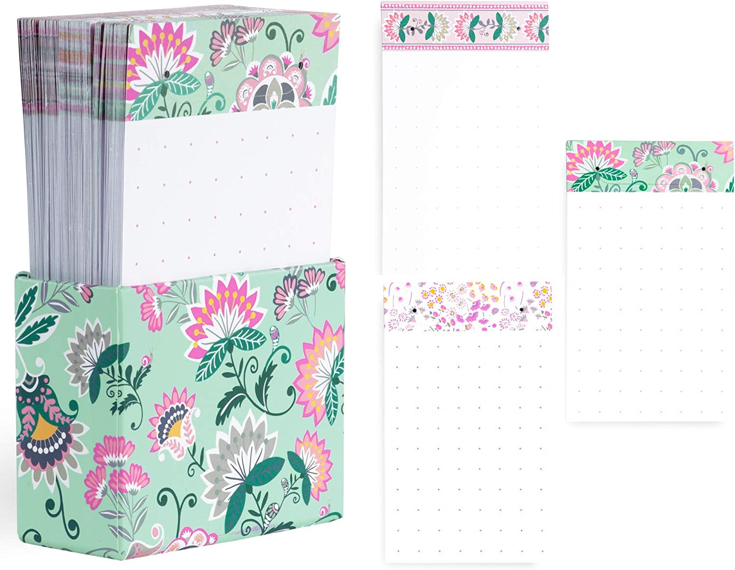 Vera Bradley Tab Notes with 90 Double Sided Dot Grid Sheets for Daily Planner, Loose Paper Pad with Decorative Storage Box, Mint Flowers