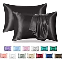 MR&HM Satin Pillowcase for Hair and Skin, 2 Pack Silky Satin Pillow Cases No Zipper, Queen Size Pillow Covers with…
