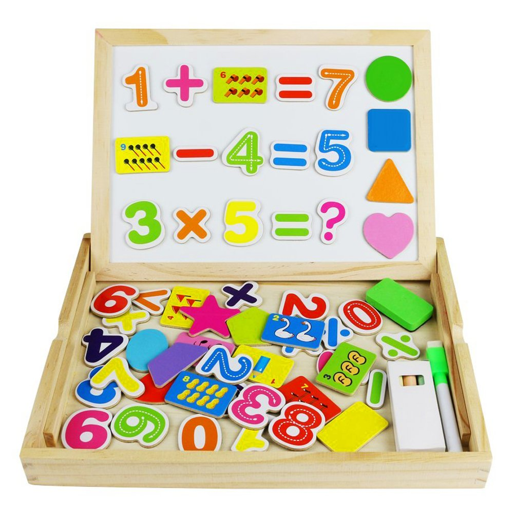 Tribe Wooden Writing Puzzle Box Magnetic Number Learning Board Jigsaw Drawing Blackboard Easel Toy Educational Play Set for Kids 3 4 5 Years Old, Number Pattern