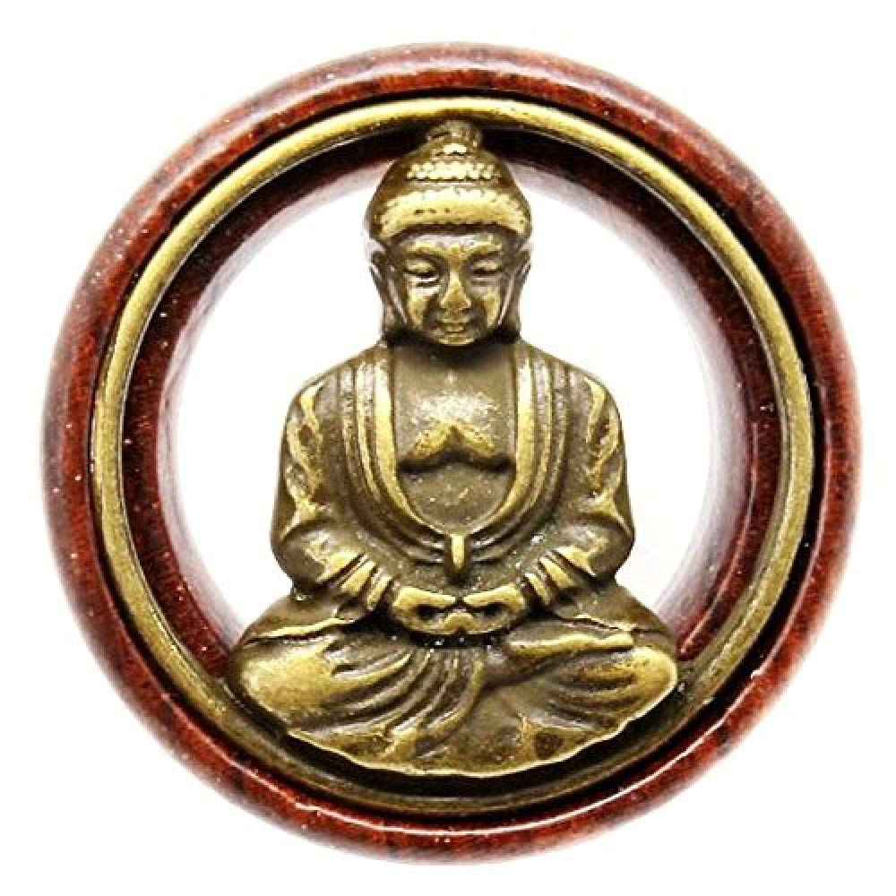 Flesh Tunnel Buddha Double Flared Ear Stretcher Saddle Plugs Gauge 8mm - 20mm (Brown, 12mm) by Acccity (Image #4)