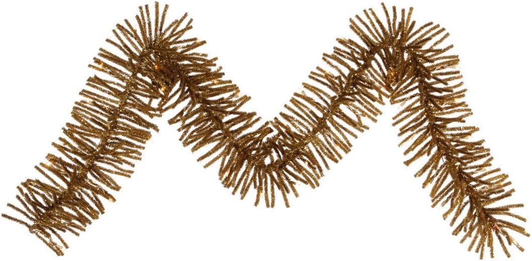 "Vickerman B164113 Garland with 220 Pvc Tips & 70 Dura Lit Mini Lights, 9' X 12"" , Clear/Antique Gold"