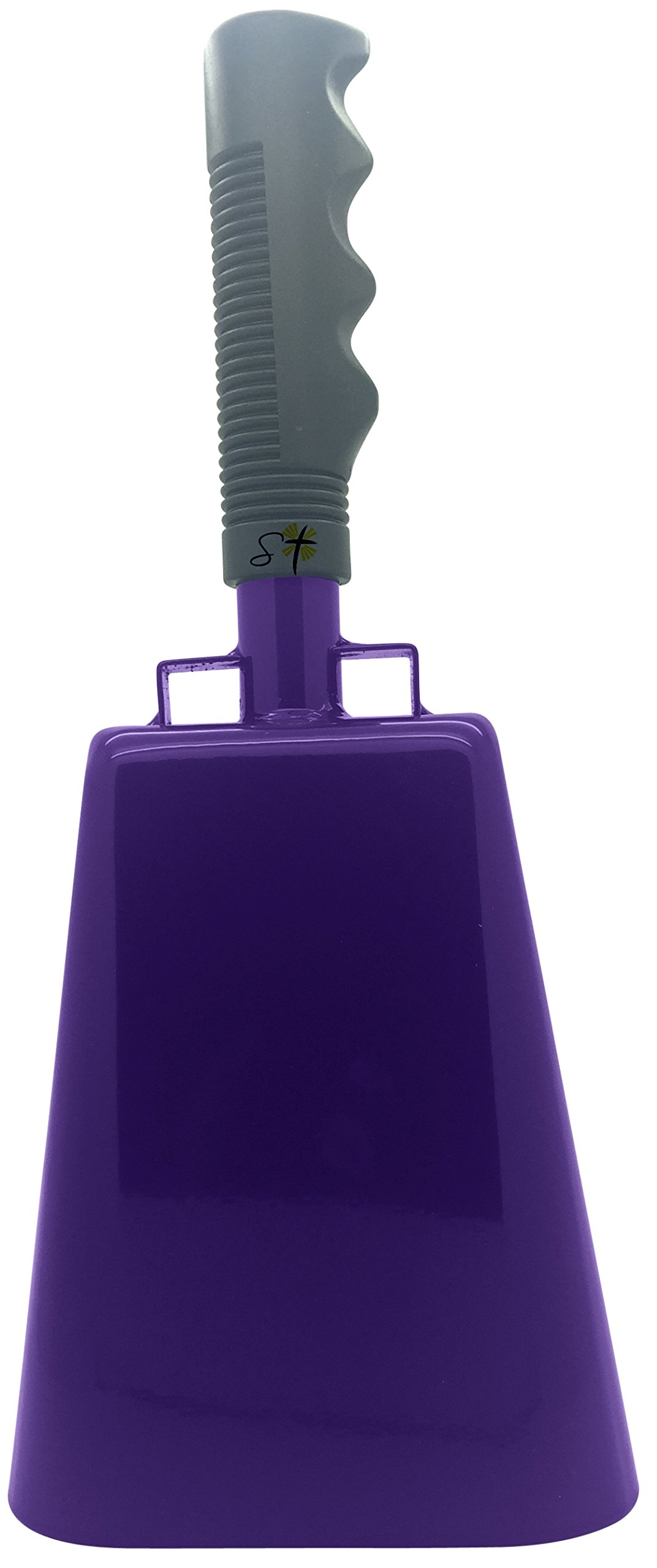 11.2 inch Purple Bell Black Handle Cowbell with Stick Grip Handle Used for Cheering at Sporting Events - Cow Bell by Stewart TradingTM by Stewart Trading LLC