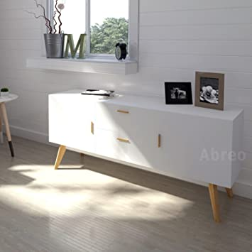Abreo Scandinavian Retro Sideboardtelevision Stand In White With Solid Oak Legs White Sideboard