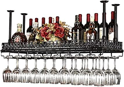 SHYPwM Wine Rack Retro Bar Hanging European Creative Tall Cup Holder Upside Down Cup Holder (Color:Black,Size:100x35cm)