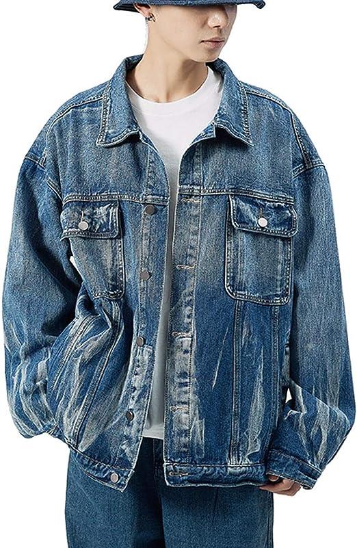 (ミドセ)デニムジャケット メンズ ジーンズ オシャレ カジュアル 秋冬 綿 通勤 通学 アウタージャケット 大きいサイズ ブラック ブルー