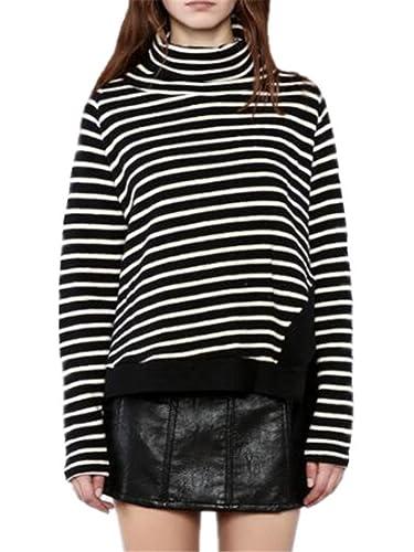 Aivosen Tshirt Manga Larga Bonitas Mujer Knitted Camiseta Irregular Blusa Casual Elegante A Rayas Of...