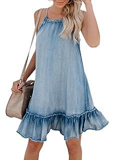 b746eddcfb Cosygal Women s Denim Sleeveless Halter Ruffle Back Hollow Out Loose Mini  Dress