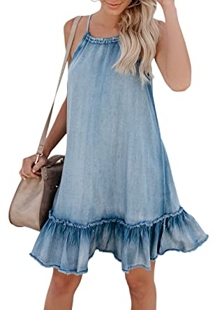Cosygal Women s Denim Sleeveless Halter Ruffle Back Hollow Out Loose Mini  Dress Blue Small f2f3d9800