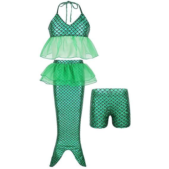 IEFIEL Traje de Baño Niña Cola de Sirena Bikini Conjunto ...
