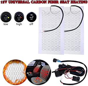Tgdays Motorcycle Seat Heating 12V Carbon Fiber Heated Cushion Heater Pad Hi-Off-Lo Switch Kit Universal